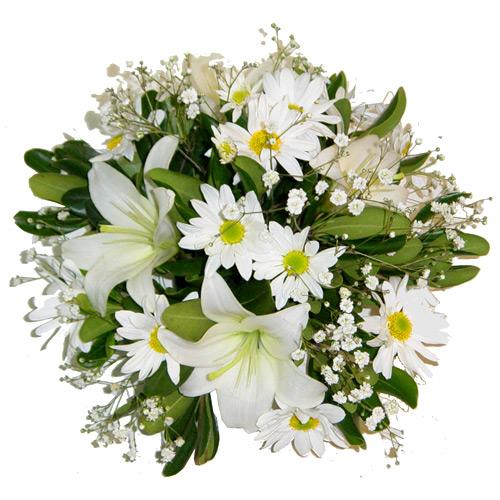 Arreglos Florales A Domicilio De Liliums Blancos Y Margaritas